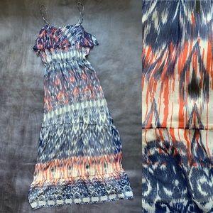 Joie Ruffle 100% Silk Adjustable Strap Maxi Dress